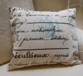 Handmade Accent Pillow Cover French Script Postale Farbic Decor Pillow