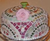 Broken cut China Mosaic Cake Dome handmade w Glass Pedestal Cake Stand