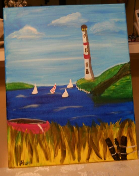 Lighthouse painting 20 x 16 inches Acrylic on stretched canvas self representing Artist