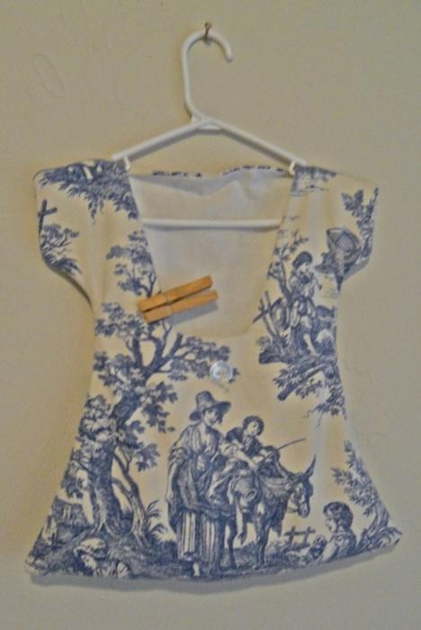 Dress for Clothespin filled with wooden Clothespins Handmade French Toile Fabric lined