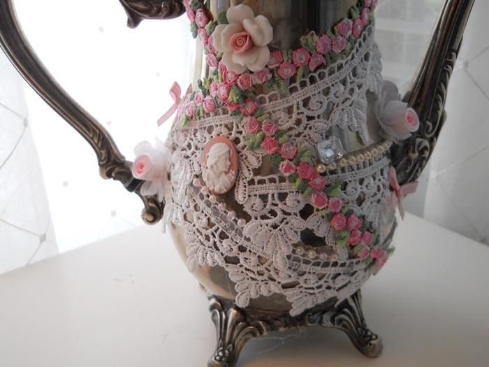 Shabby Chic Handmade Teapot Centerpiece