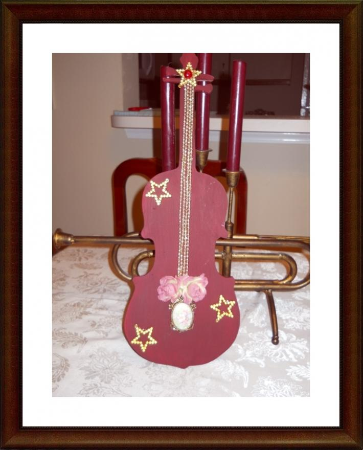 Wood Cut Out violin decor or gift for musician music lover