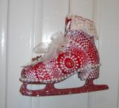 Red Winter Ice Skate Front Door Decoration glitter snow Organza ribbon
