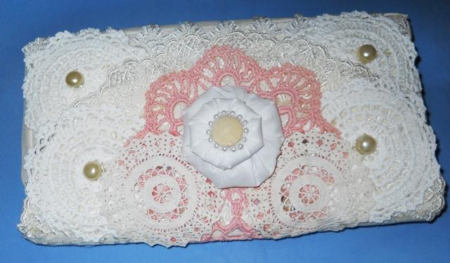 Upcycled handmade Shabby Clutch bag Doily Clutch Purse