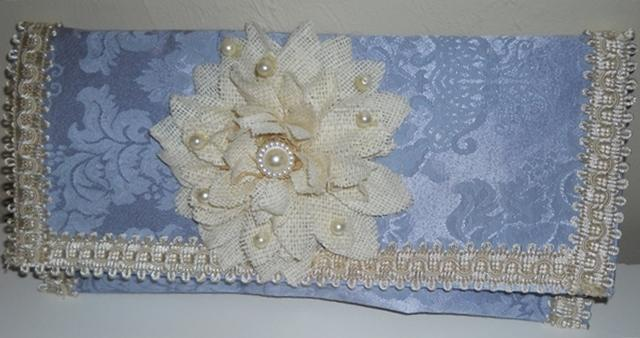 Clutch Bag handmade damask clutch purse blue damask ivory and cream