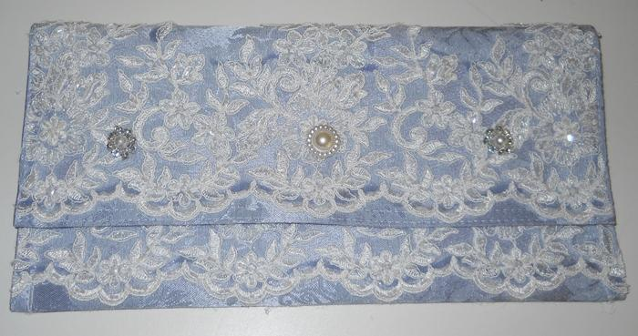 Clutch Bag Handmade Blue Damask Garden Summer Wedding Bridal Party Clutch Purse