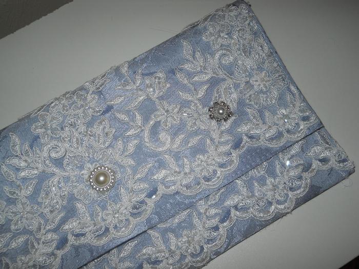 1 Clutch Purse Handmade Blue Damask Garden Summer Wedding Bridal Party Clutch Purse