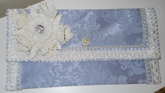 Handmade Clutch Purse blue damask handmade Summer Clutch Party Clutch Purse Shabby Chic clutch bag Ivory lace handmade doily flower