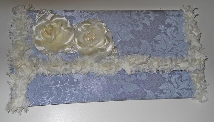 Blue Damask Clutch Purse handmade Summer Garden Party Clutch Shabby clutch bag Ivory lace flower