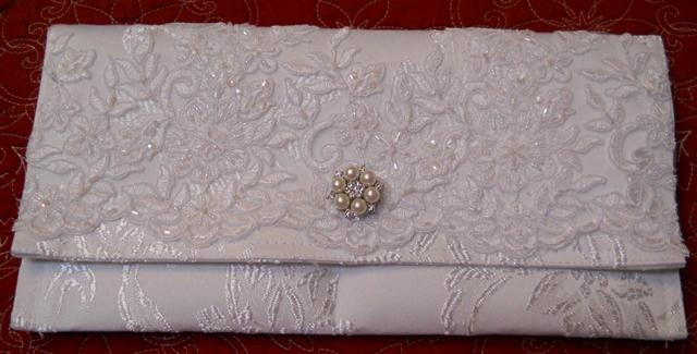 Handmade Clutch White damask covered with vintage handbeaded bridal lace