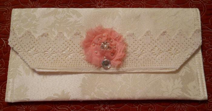 Bag Clutch Handmade purse Ivory damask with cream vintage hand crocheted lace and a pink fabric flower Pearls rhinestones