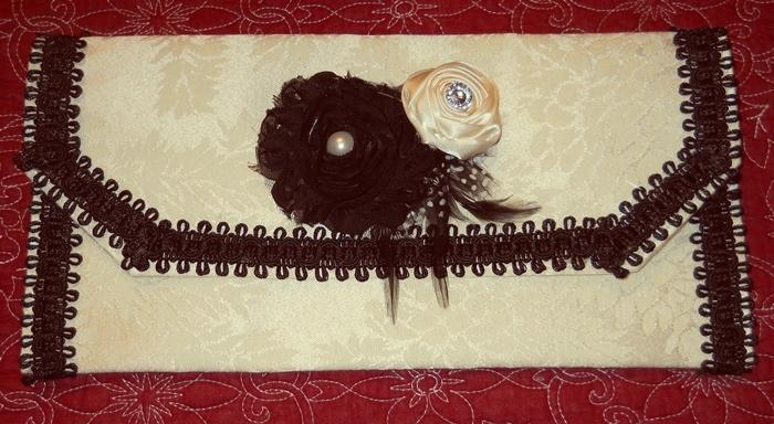 Purse Clutch Handmade Ivory damask with black accents and handmade fabric flowers feathers