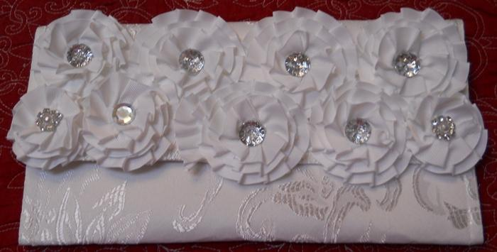 Damask Clutch Purse White Handmade with numerous white Ribbon flowers and rhinestone centers