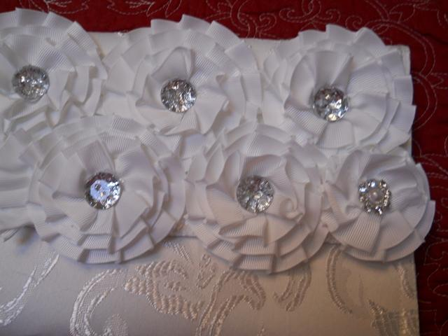 1 Damask Clutch Purse White Handmade with numerous white Ribbon flowers and rhinestone centers