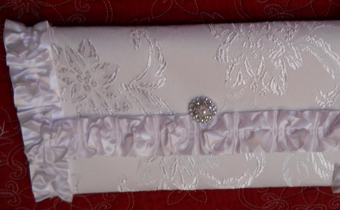 Clutch Purse Bag White Damask Purse Handmade with Satin ruffled edges rhinestone closure