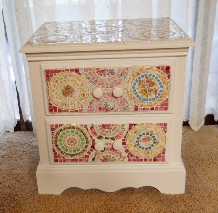 Charmant Mosaic 2 Drawer Side Table End Table Broken Cut China Mosaic Side Table  Handmade