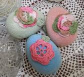 3 Glitter bowl filler Eggs handmade paper mache glitter handmade crochet roses