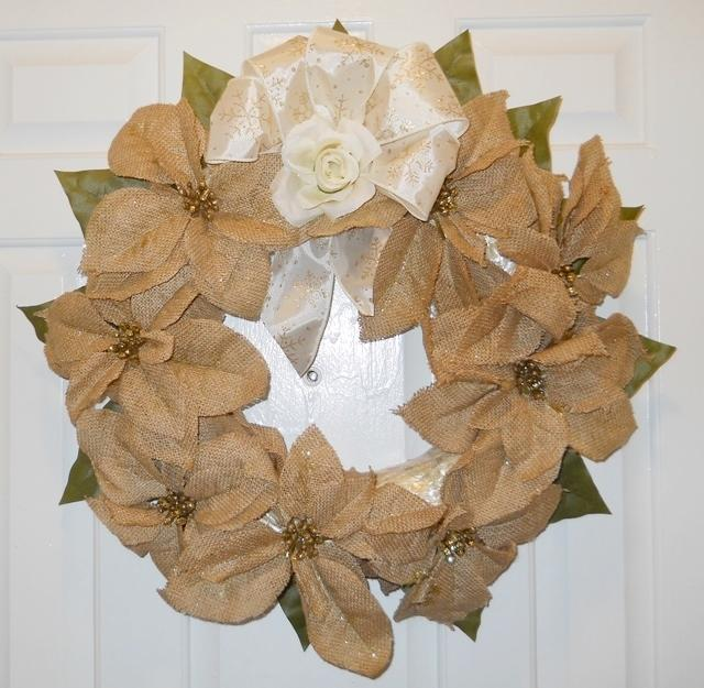1 Designer made Wreath Straw Burlap Poinsettias with gold sprinkles ribbon and Rose