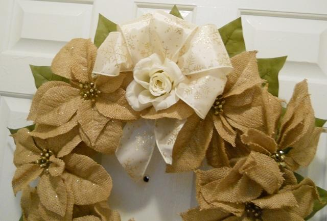 Designer made Wreath Straw Burlap Poinsettias with gold sprinkles ribbon and Rose