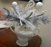 Snowy white Silver Rhinestone Table Center Piece