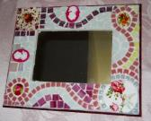 Picture Frame Mosaic Mirror Shabby Chic handmade broken china plate rims wall Mirror Stained glass