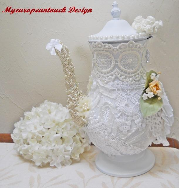 1 Altered Teapot Lace Gimp Teapot Centerpiece handmade Fabric flowers Rhinestones