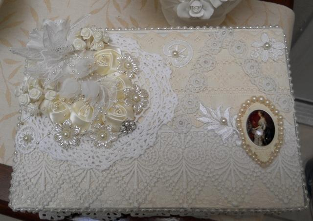 Shabby Chic BoxTable top box jewelry box keepsake box wedding box baby shower box