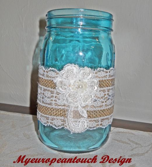 Aqua mason jar bathroom bath set mason jar bathroom for Bathroom decor mason jars