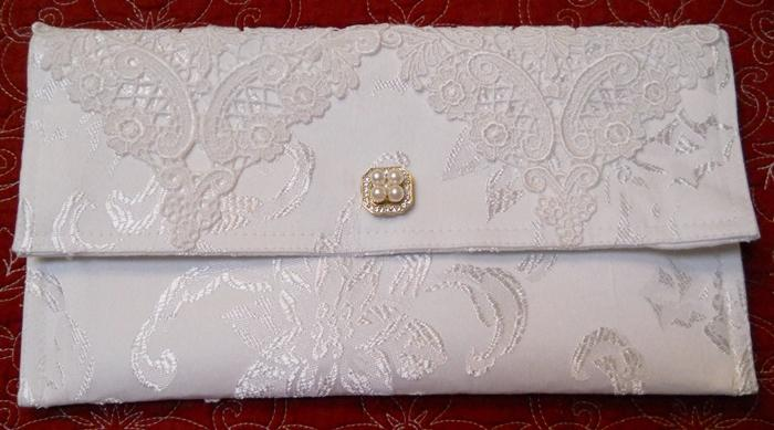 1 Clutch Bag White damask covered with 2 Venise Lace Appliques