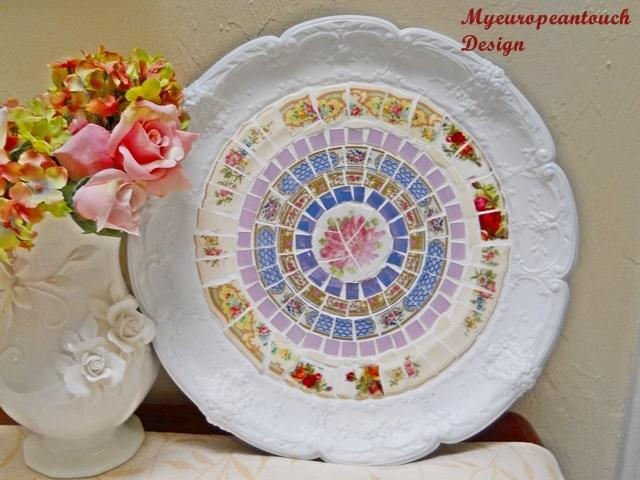 1 Handmade Platter with China plate Mosaic and stained glass Serving Platter Display platter decor plate