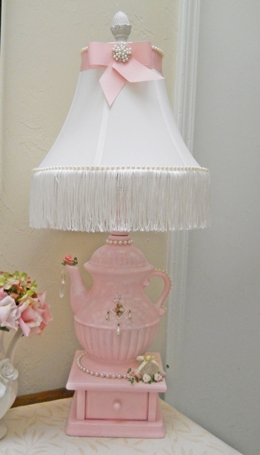 Table Top Coffee Teapot Lamp Pink Shabby Chic White Fringes Pearls Roses