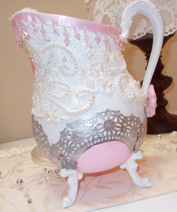 Shabbyliscious Large Pitcher wiht bridal lace pearls rhinestones pink and white
