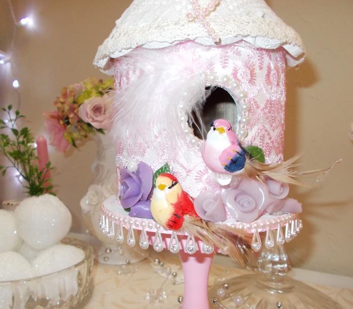 Shabbyliscious chic handmade birdhouse pink cream white ivory