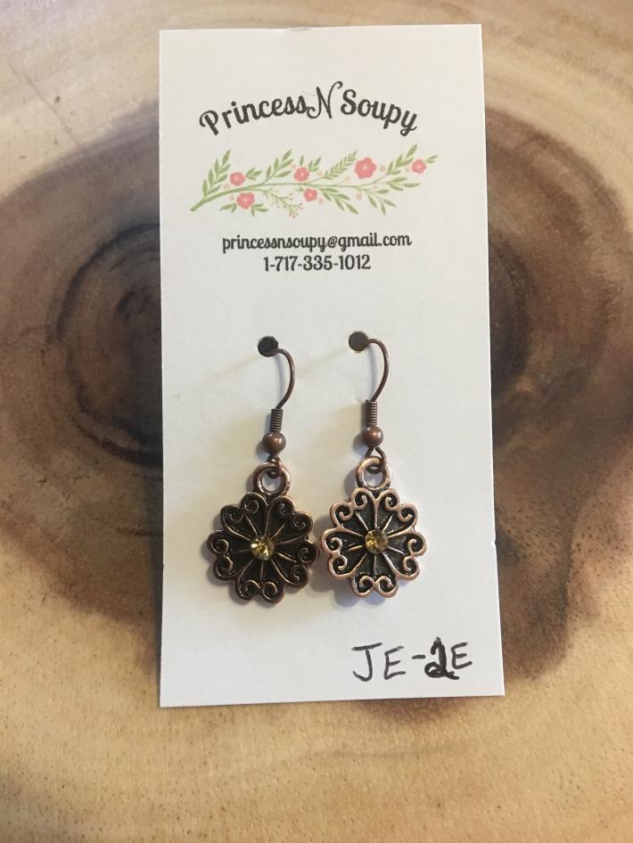 Bronze Flower Earrings