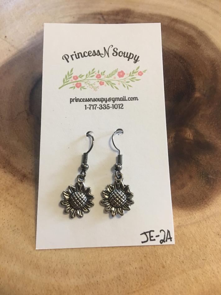 Small Silver Sunflower Earrings