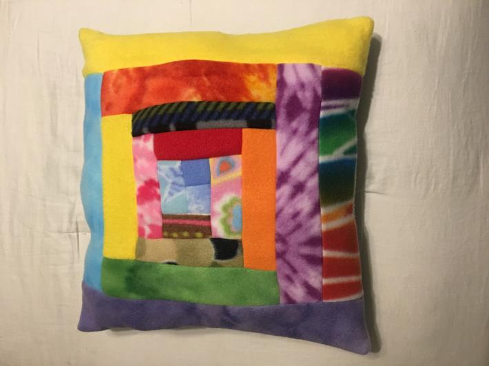 Decorative Log Cabin Quilting Block Pillow