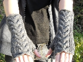 Cable knit wrist warmers knitting pattern PDF fingerless gloves
