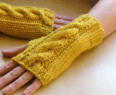 Chunky Cable Knit Wrist Warmers Knitting Pattern pdf fingerless gloves