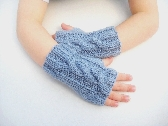 Childrens wrist warmers Age 5 to 8 years fingerless mittens fingerless gloves blue