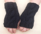 Childrens fingerless gloves Age 5 to 8 years mittens wrist warmers black