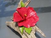 Ceramic Hibiscus on Driftwood