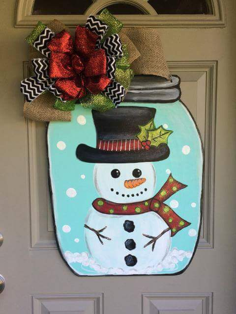 Snowman Mason Jar Snow Globe Wood Door Hanger On Handmade