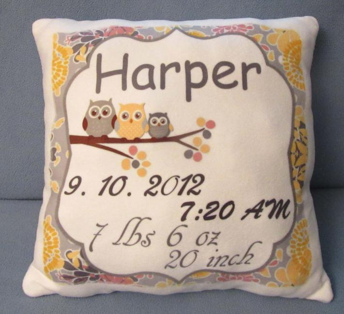 Cute Personalized Pillow New Born Baby Announcement Perfect Keepsake