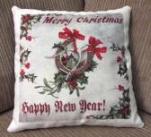 Decorative Christmas Pillow Horseshoe