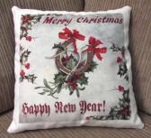 Decorative Christmas Pillow Horseshoe