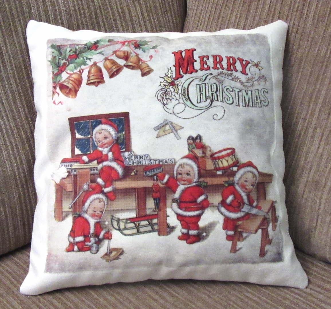 decorative christmas pillow santa on handmade artists