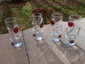 Tall Shot Glasses Wire and Red Glass Beads Set of 4