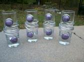 Tall Shot Glasses Wire and Purple Opague Glass Beads Set of 4