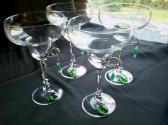 Margarita Glasses with Wire and Green Glass Beads Set of 4