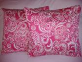 Pink and White Paisley Floral Swirl Decorative Throw Pillow Cover Case Sham Set 16 x 16